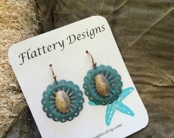Flirty Honey Cowrie Shell Earrings