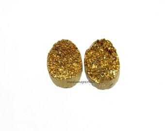 PAIR    16x7mm oval gold Natural quartz Titanium Druzy Cabochon cab Drusy Natural Gemstone Geode Jewelry pairs Craft