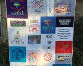 T-shirt Mosaic Quilts Custom, Memory Quilt, Custom Order Quilt, You Pick Size - Using Your Shirts - DEPOSIT ONLY