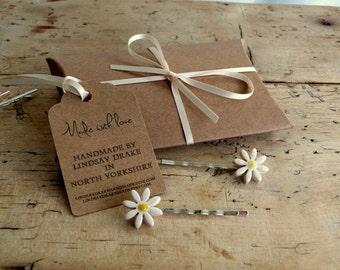 2 Ceramic daisy bobby pins