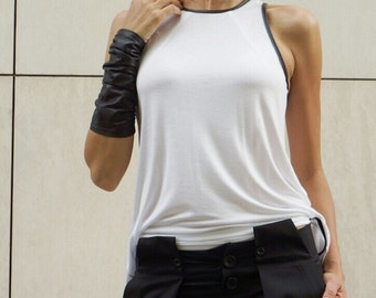 NEW Hot Sexy White Tank  Top /  Soft Casual Stylish Wear /  Extravagant Top with Black Eco Leather neckline and armholes by AAKASHA A04410