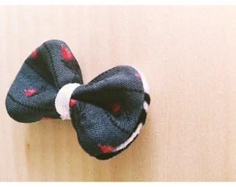 Grey Floral Fabric/Felt Bow