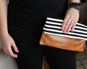 Black Stripe Leather Fold Over Clutch