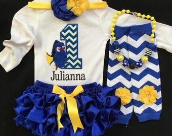 First Birthday/Blue Fish/Yellow and Blue Ruffle Bloomer set/CakeSmash/Baby Girl Birthday/Fish Birthday/Dory