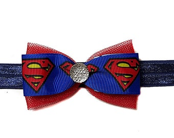Superheroes Mini Hair Bow- Ribbon with Rhinestone Mini Hair Bow--Made in the USA--Headband or Alligator Clip