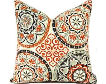 Outdoor Pillows Outdoor Pillow Covers Decorative Pillows ANY SIZE Pillow Cover Orange Pillow Waverly Outdoor Color Wheel Poppy