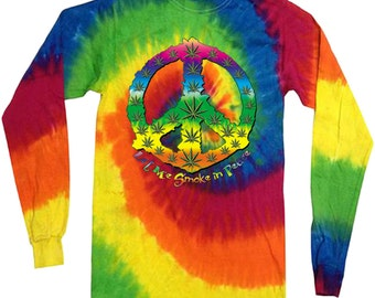 Long sleeve shirt tie dye shirt Marijuana cannabis 420 weed pot shirt