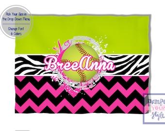 Softball Custom Blanket - Hot Pink and Lime Green Softball - Softball Personalized Blanket - Softball Blanket Throws