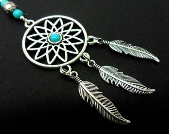 "A lovely dreamcatcher and ball chain turquoise beaded long pendant necklace. 26"" long."