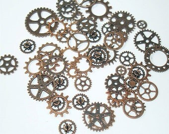 25PC. or 50PC. Antique Copper Tone Plated Finish// Antique copper steampunk charms//Assorted Steampunk Vintage Style Gear And Cog Charms