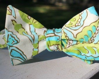 Lilly-Inspired Turquoise and Lime Paisley Bow Tie