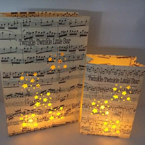 Twinkle Twinkle Little Star Free Sheet Music For Piano: 1 Twinkle Twinkle Little Star Luminary Bag Vintage Sheet