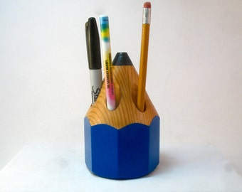 Wood pencil organizer, upcycled wood,Blue