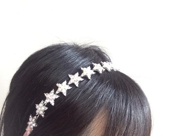 Sparkle stars and pearls wedding bridal jewelry headband Swarovski rhinestone crystals hair comb tiara