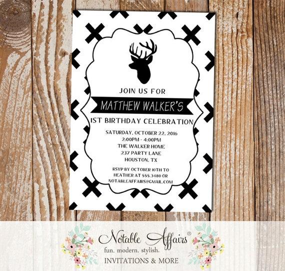 Black and white x cross deer minimalist birthday invitation black il570xn filmwisefo