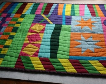 Solid Sampler Art Quilt ; Multicolored Quilt ; Improvisational Art Quilt ; Textile Art ; Textile Wallhanging ; Modern Art Quilt