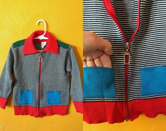Vintage color block/striped cardigan with pockets and large collar ,retro kids, kids cardigan vintage cardigan SizE 4/5T