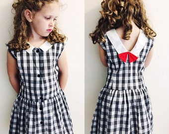 Vintage polly flinders black and white plaid dress with red bow / retro girls dress/ vintage girls dress size 5/6T