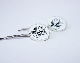 Black Bird Swallow Hair Pins Rockabilly Tattoo Sparrow Retro Pinup Girl Accessories Bobby Pins