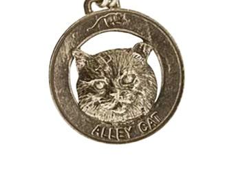 Pewter ~ Alley Cat Keychain ~ CK003