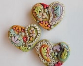 Rustic Paisley hearts magnet set of 3- polymer clay