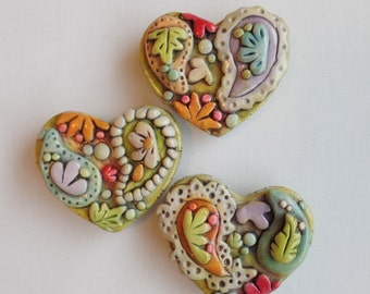 Rustic Paisley hearts magnet set of 3- polymer clay, Paisley Refrigerator Magnets