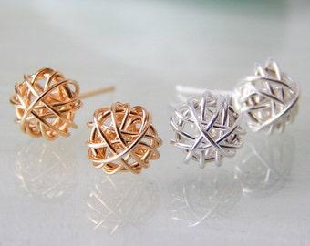 Gold Earrings/ Stud Earrings/ Silver Love Knot Earrings/ Rose Gold Earrings, Bridesmaids Earrings, Gifts for Her, Minimalist Jewellry