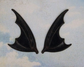 Gigantic Huge Pair of Black Plated Brass Bat Wings Ox Wings - Vampire Bat- Gothic Bat Wings -