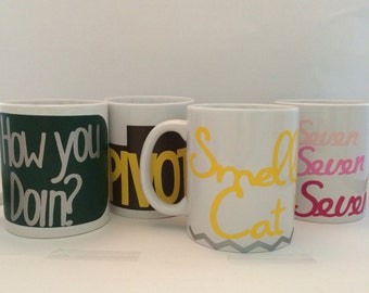 Friends TV Show Mug Set of Four Customized and Handmade Mugs for Every Friends Fan!