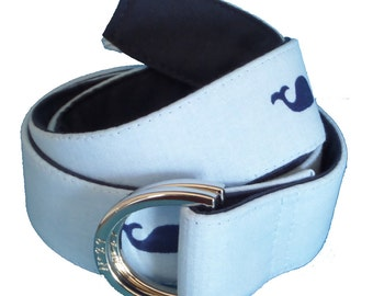 Navy Whale Nautical Belt/ Fabric Belt/Woman's D-Ring Belt/Preppy Belt/Navy Whale with Reverse Navy Tail D-Ring Belt