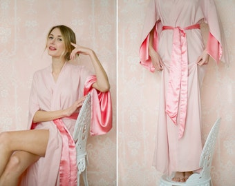 "Willow. 1 exquisitely soft ""Haiku"" winter robe in lined rayon. Trimmed in satin Long robe Long kimono with pockets Gift for her Flapper robe"