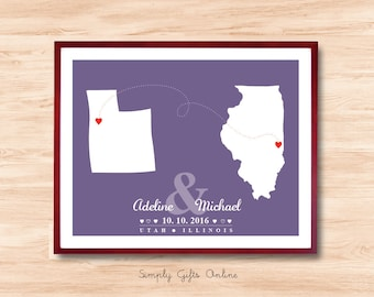 Any 2 State Maps - Personalized Wedding Gift, Two Maps Connected,Anniversary gift,birth announcement,Wedding guest book, home decor,wall art