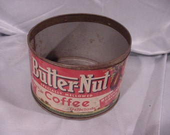Sale - OLD Butter-nut Coffee Tin 1 Pound Size Neat Graphics Omaha NE