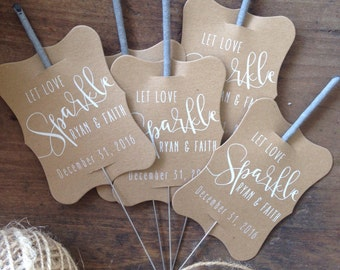 Wedding Sparkler Tag Set Of 24 Sleeves Custom Tags Unique