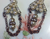 Dangling Vintage Pearl  Rhinestone Drop Dangle Earrings 2-Tone Pierced Copper Silver Handmade Boho Retro Bridal Assemblage WishAnWearJewelry