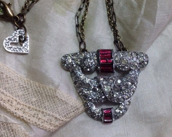 GorGeoUs Art Deco Rhinestone Dress/Sweater Clip 30s Ruby Red Stones Repurposed Vintage Assemblage Necklace Brass Chains Brooch WishAnWear XO