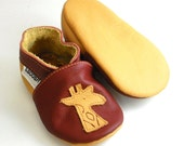 SALE -50% soft sole baby shoes infant handmade gift yellow giraffe maroon 6 12 m ebooba 628-2