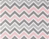SALE Light Pink, Grey and White Chevron Zigzag Premier Prints Fabric