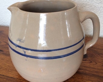 Antique Stoneware Pottery Pitcher- Blue Band Hand Thrown Rustic Primitive Country Marshall Pottery