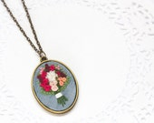Red Hand Embroidered Flower Bouquet Necklace   Embroidered Statement Long Pendant Necklace   Modern Embroidery Fiber Textile Art