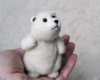 Needle Felted Polar Bear, handmade animal, Bear Doll, Polar Bear Cub, Christmas Stocking Filler - ready to ship