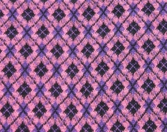 Vintage Purple Pink Tubular Fabric, Woven Knit Fabric, Jersey Geometric Fabric, 1970s 70s Stretchy Mod Retro 1 yard