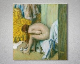 Apres Le Bain Femme Sessuyant Les Pieds by Edgar Degas - Poster Paper, Sticker or Canvas Print