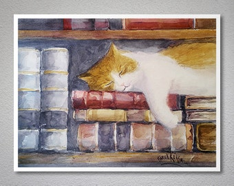 Sweet Dreams Watercolor Painting by Faruk Koksal -  Print on 290 gr. Textured Fine Art Paper