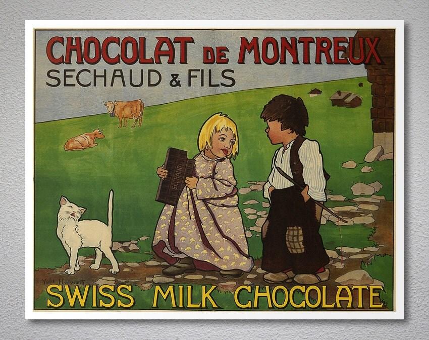 chocolat de montreux vintage food drink poster affiche. Black Bedroom Furniture Sets. Home Design Ideas