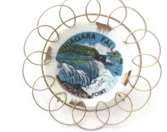 Niagara Falls Prospect Point Mini Souvenir Plate with Wire Holder