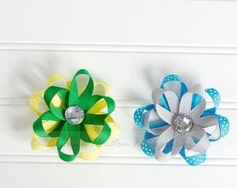 ON SALE Flower Ribbon Hair Clips, Green, Yellow, Silver, Blue- Set of 2