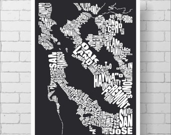 San Francisco Bay Map Print - Custom San Francisco Typography Map with Towns and Cities, Various Colors, Word Map Art Print Poster