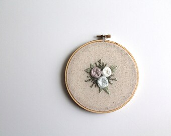 Floral Embroidery Hoop. Home Decor. Wall Art. Roses and Greenery Wall Art. Flower Embroidery Wall Hanging.