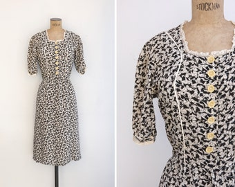1930s Dress - Vintage 30s Day Dress - Isabella Dress